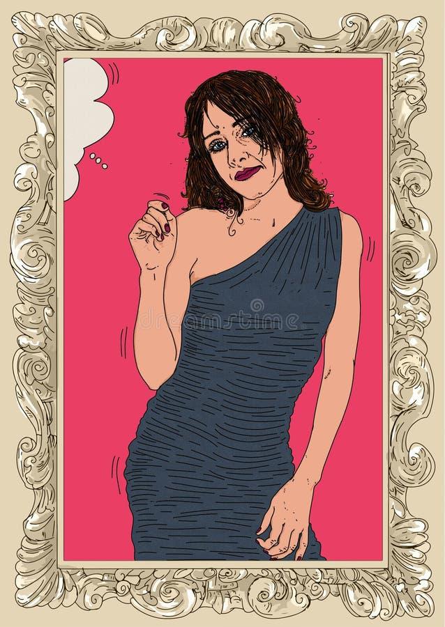 Kobieta w erotycznej pozie, dziewczyna, szpilka z w górę ramy ilustracji