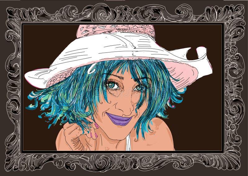 Kobieta w erotycznej pozie, dziewczyna, szpilka z w górę ramy royalty ilustracja