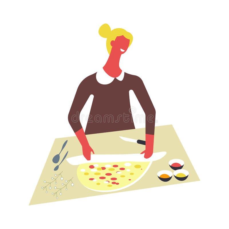 Kobieta w fartuchu gotuje jedzenie i słuzyć w pucharach Żeński charakter przygotowywa naczynia na stole ilustracji