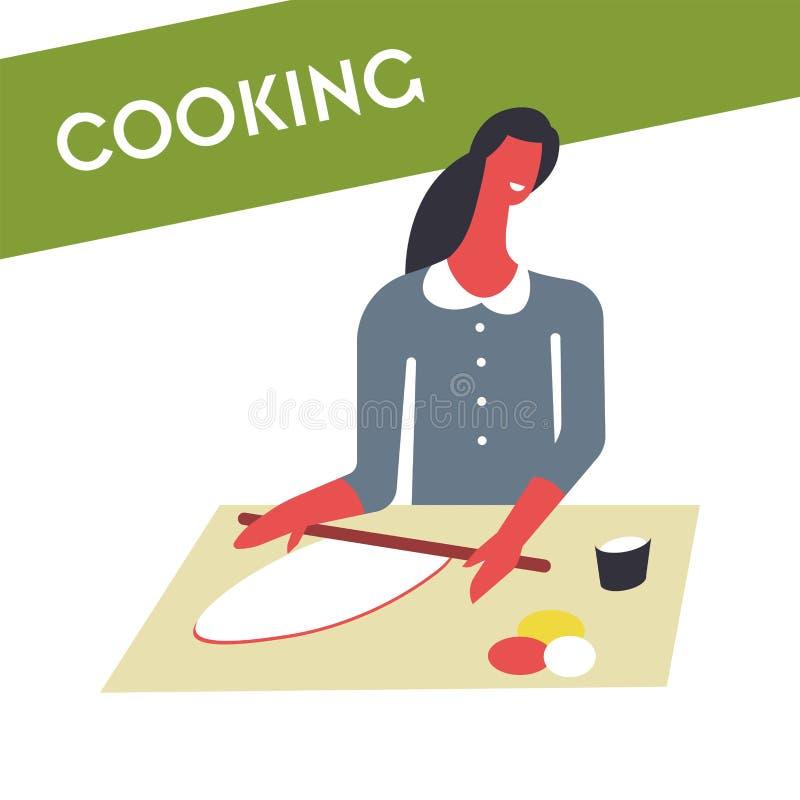 Kobieta w fartuchu gotuje jedzenie i słuzyć w pucharach Żeński charakter przygotowywa naczynia na stole royalty ilustracja
