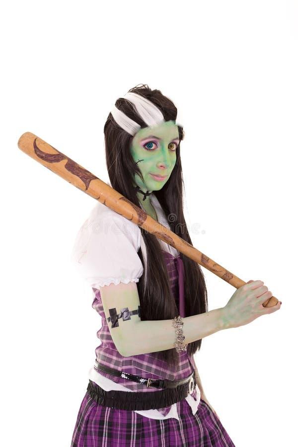 Kobieta w Frankenstein kostiumu z nietoperzem zdjęcie royalty free