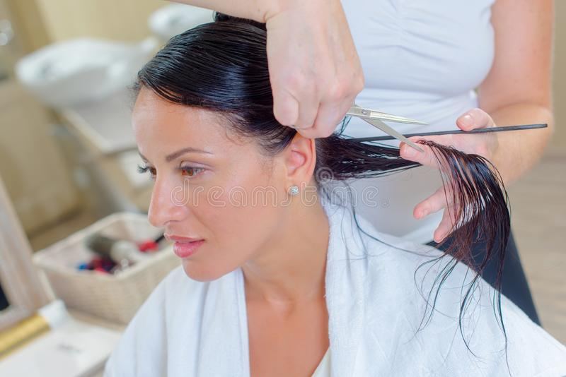 Kobieta w fryzjerach ma włosy ciącego krótko zdjęcie royalty free