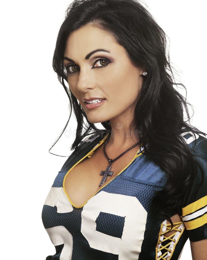 Kobieta w Futbol amerykański koszula zdjęcie stock
