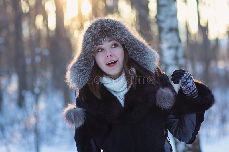 Kobieta w futerkowym kapeluszu w zima parku obraz stock