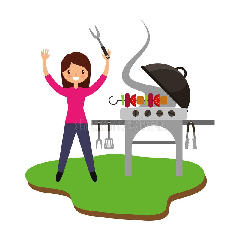 Kobieta w grillu z grillem ilustracja wektor