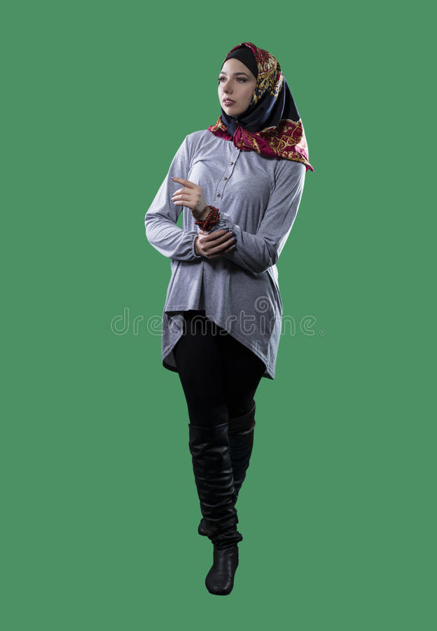 Kobieta w Hijab na zieleń ekranie zdjęcia royalty free