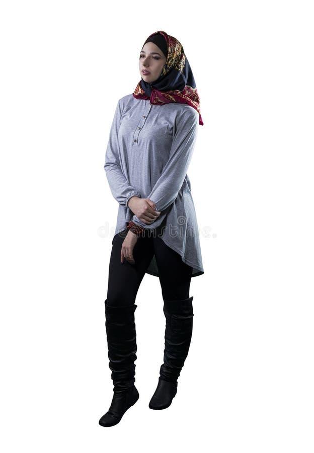 Kobieta w Hijab Odizolowywał na Białym tle zdjęcie royalty free