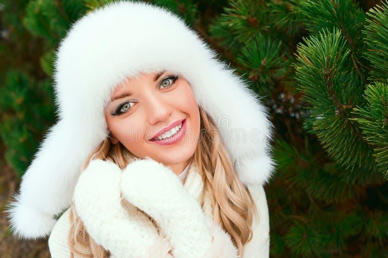 Kobieta w kapeluszu, mitynki, scarves, pulowery, futerko w zimy jodły lesie fotografia royalty free