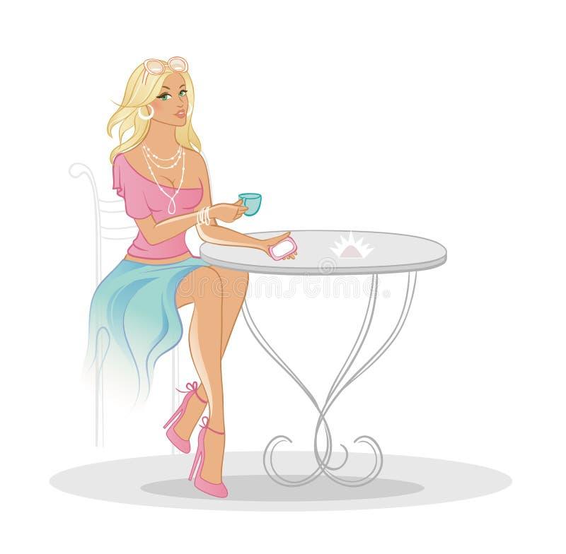 Kobieta w kawa domu ilustracji