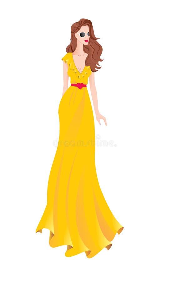 Kobieta w kolorze żółtym tęsk suknia ilustracja wektor