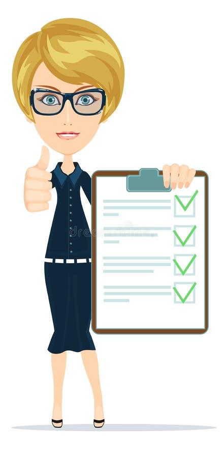 Kobieta w kostiumu, kierowniku lub agencie, pokazuje dokument, ubezpieczenie Wektor, ilustracja wektor