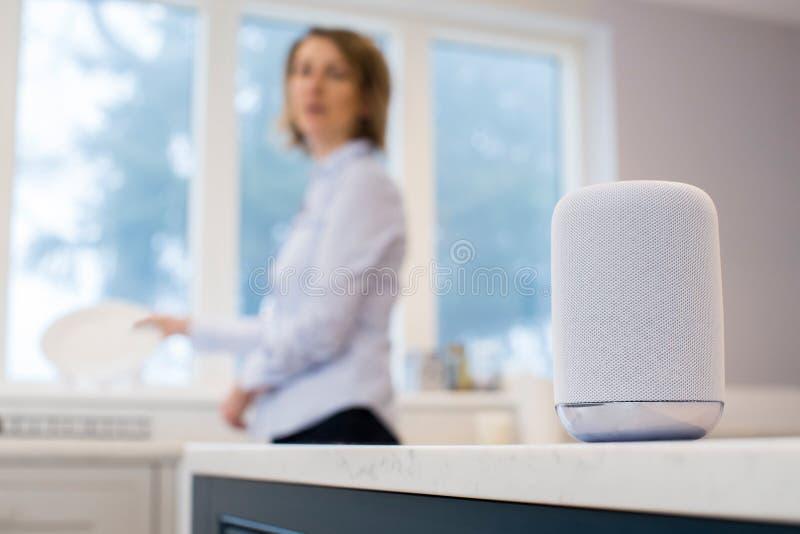 Kobieta W Kuchennym Pyta Cyfrowego asystencie Podczas gdy Myjący Up obraz stock
