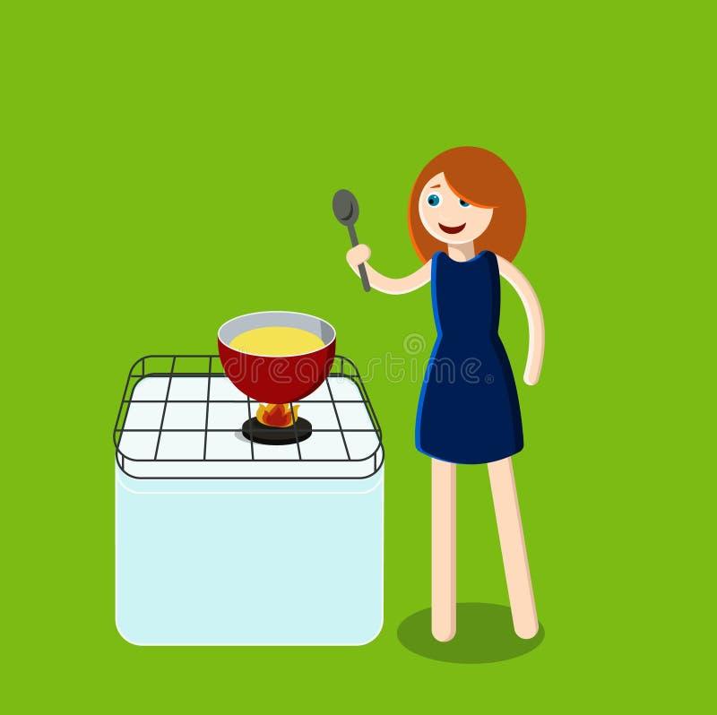 Kobieta w kuchni kucharz royalty ilustracja