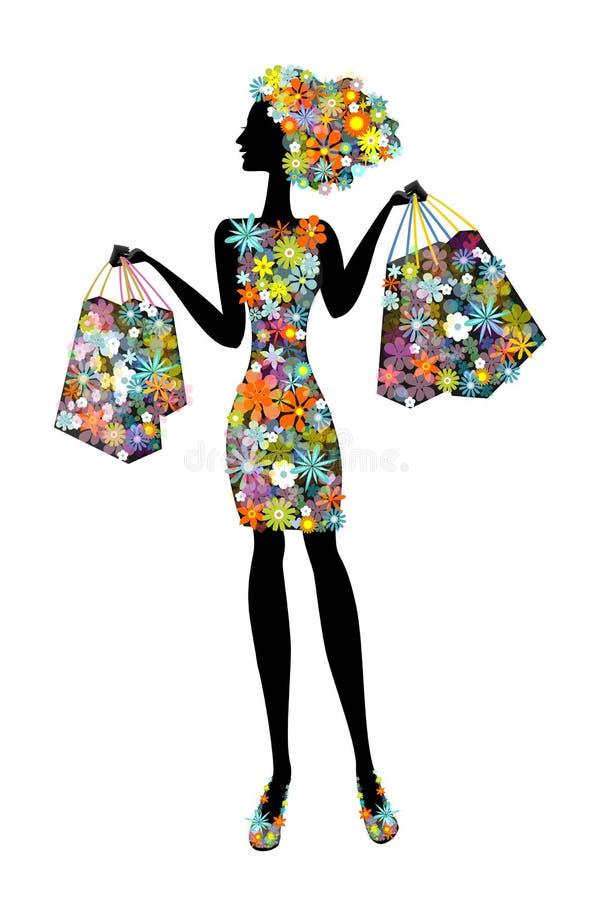 Kobieta w kwiatach które iść robić zakupy ilustracji