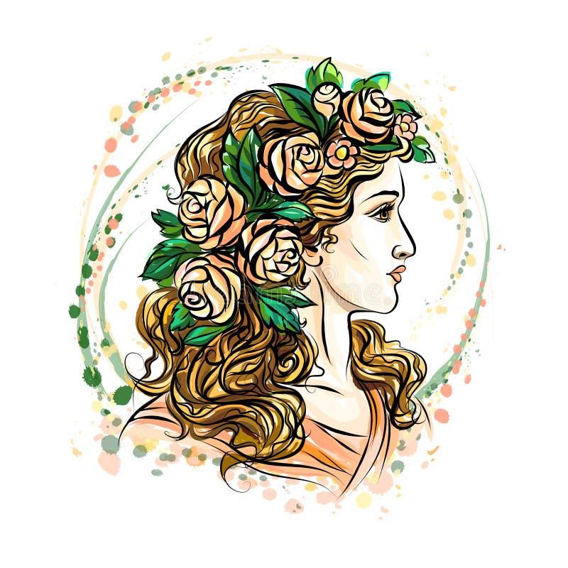 kobieta w kwiatu wianku ilustracji