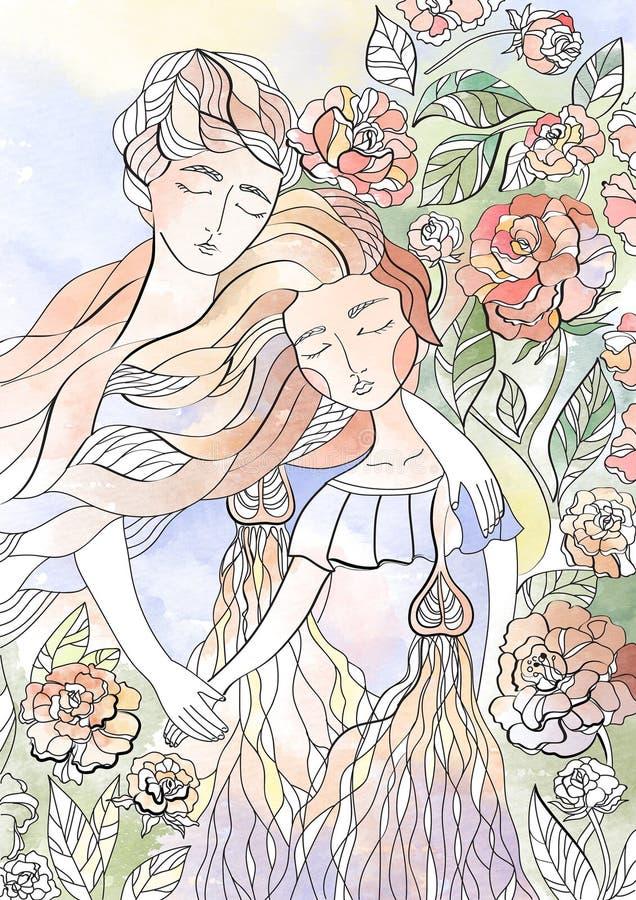 Kobieta w miłości wśród kwiatów w i mężczyzna wiosny, szczęścia i miłości akwareli pocztówkowych kochankach, zdjęcie royalty free