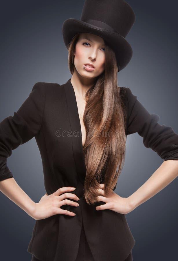 Kobieta w odgórnym kapeluszu zdjęcia royalty free