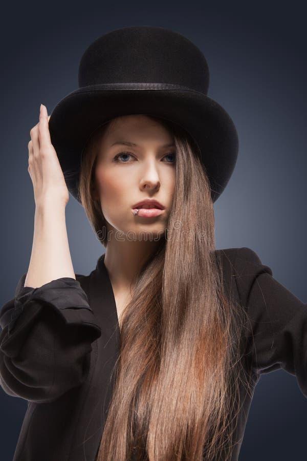 Kobieta w odgórnym kapeluszu zdjęcie stock