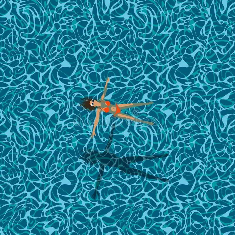 Kobieta w pływackim basenie, bezszwowy wzór ilustracji