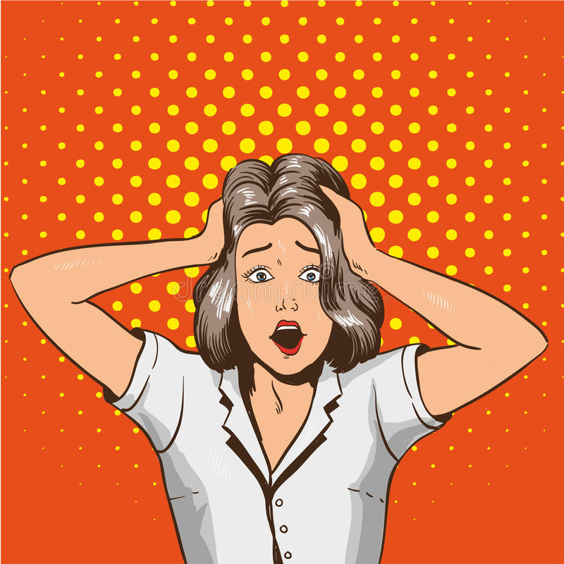 Kobieta w Panice Wektorowa ilustracja w wystrzał sztuki retro stylu Zaakcentowana dziewczyna w szoku chwyta jej głowę w rękach ilustracja wektor