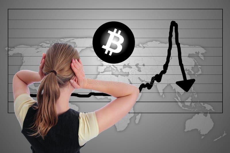 Kobieta w paniki Bitcoin trzaska bąbla mapie zdjęcia royalty free