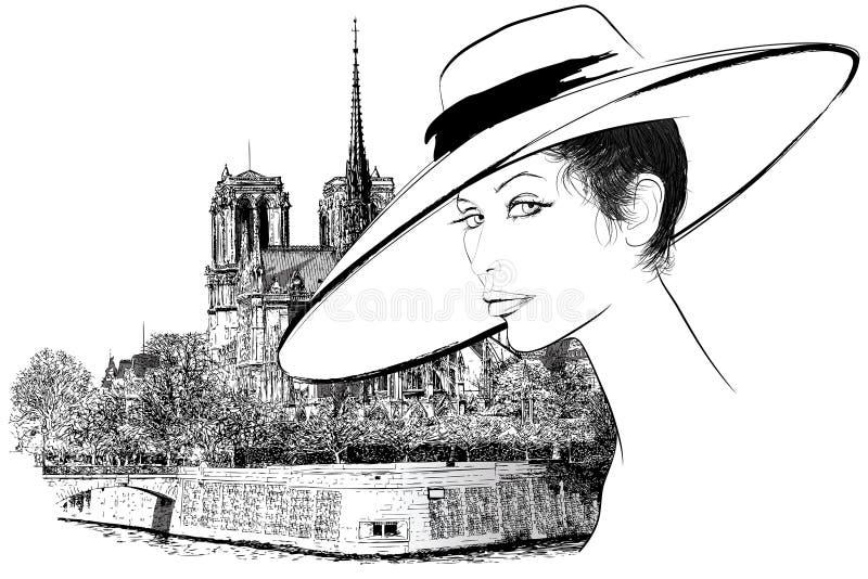 Kobieta w Paryż niedaleki Notre Damae royalty ilustracja