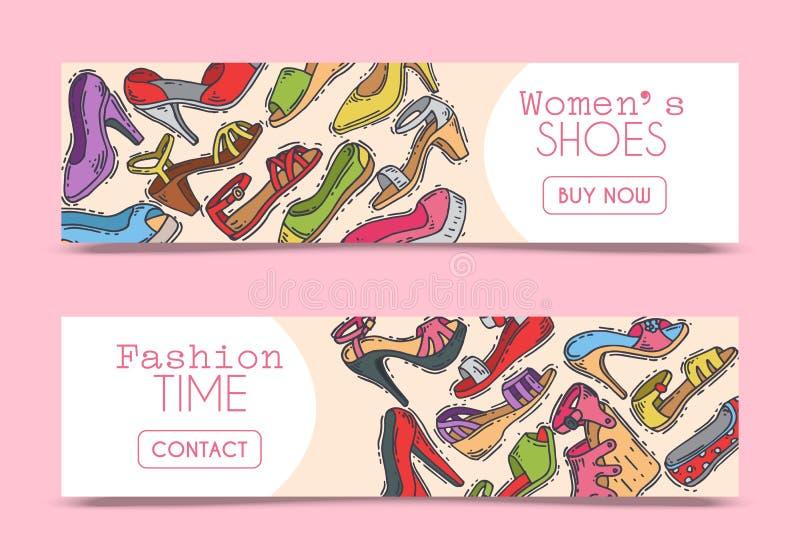 Kobieta but?w pary obuwia sztandaru wektoru elegancka wysoka ilustracja Szpilki dziewczyny pi?ty modny plakat trend royalty ilustracja