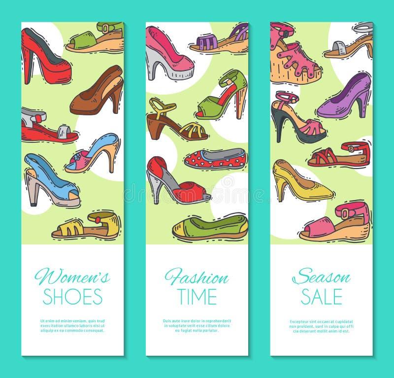 Kobieta but?w pary obuwia sztandaru wektoru elegancka wysoka ilustracja Szpilki dziewczyny pi?ty modny plakat trend ilustracji