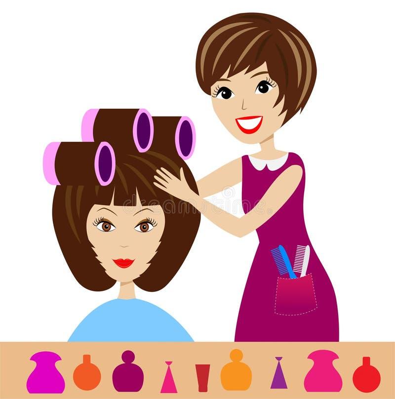 Kobieta w piękno salonie robi fryzurze ilustracji