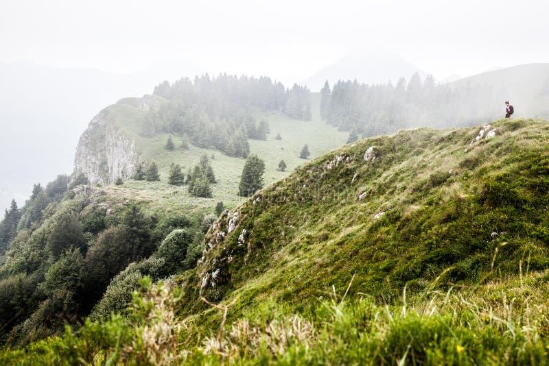 Kobieta w pięknym góra krajobrazie zdjęcia stock