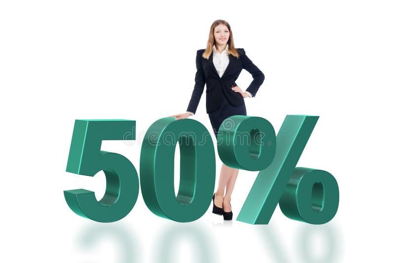 Kobieta w 50 procentów sprzedaży pojęciu zdjęcie stock