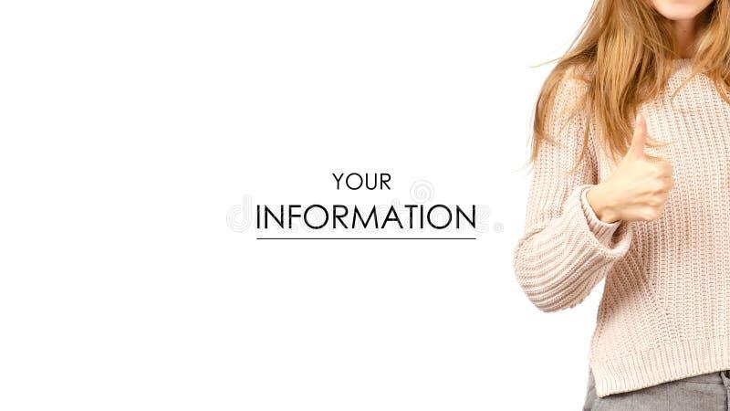 Kobieta w puloweru pokazywać dobry zdjęcia royalty free