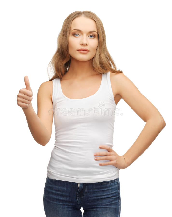 Kobieta w pustej białej koszulce z aprobatami obrazy royalty free