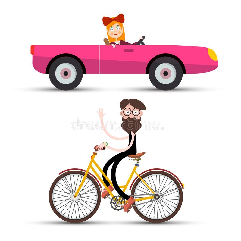 Kobieta w Różowym kabrioletu samochodzie, mężczyźnie na bicyklu i ilustracji