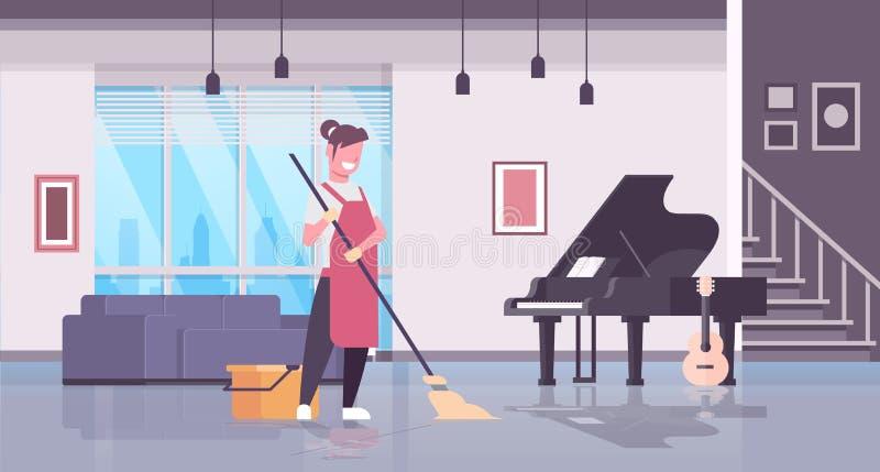 Kobieta w rękawiczkach i fartuch płuczkowej podłogowej dziewczynie używa kwacz gospodyni domowej robi sprzątania pojęcia cz ilustracja wektor