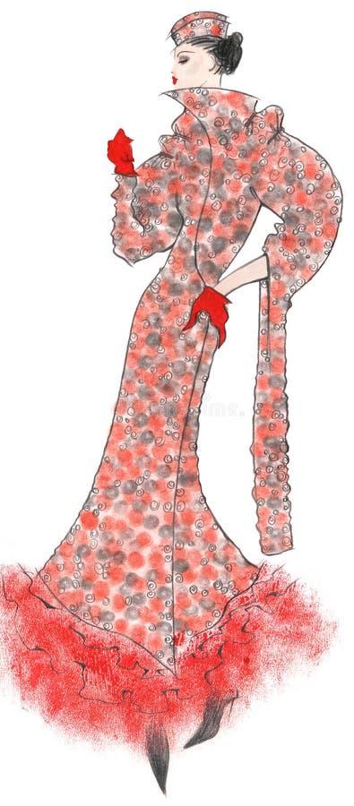 Kobieta w retro żakiecie ilustracji