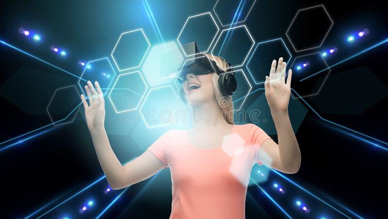 Kobieta w rzeczywistości wirtualnej słuchawki lub 3d szkłach royalty ilustracja
