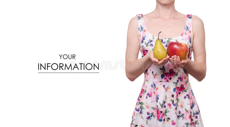 Kobieta w smokingowym kwiecistym druku w ręki bonkrety owocowym jabłczanym wzorze fotografia stock