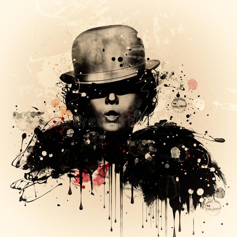 Kobieta w stylu kabaret Akwareli ilustracja, grunge moda royalty ilustracja