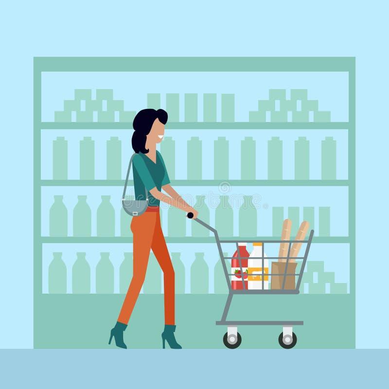Kobieta w supermarkecie ilustracji
