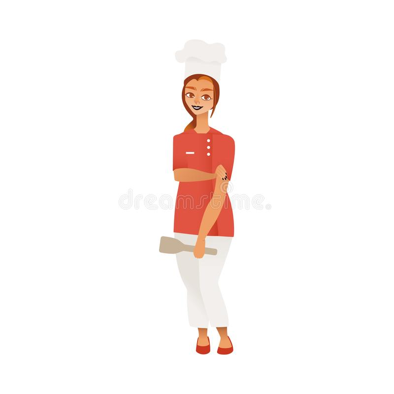 Kobieta w szefa kuchni kucharza mundurze jako symbol różnorodności wektorowa ilustracja odizolowywająca royalty ilustracja