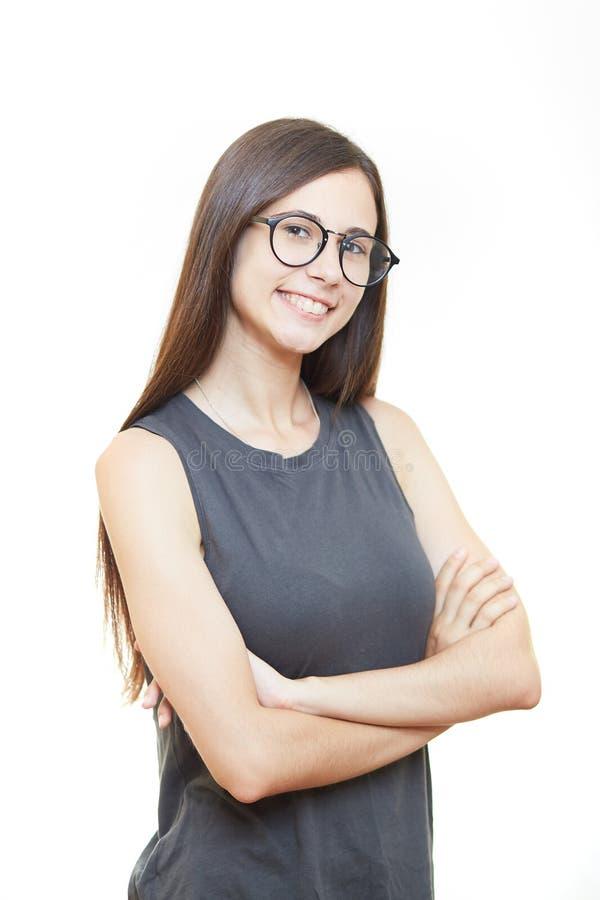 Kobieta w szkła biura emocjach Biały tło obraz royalty free
