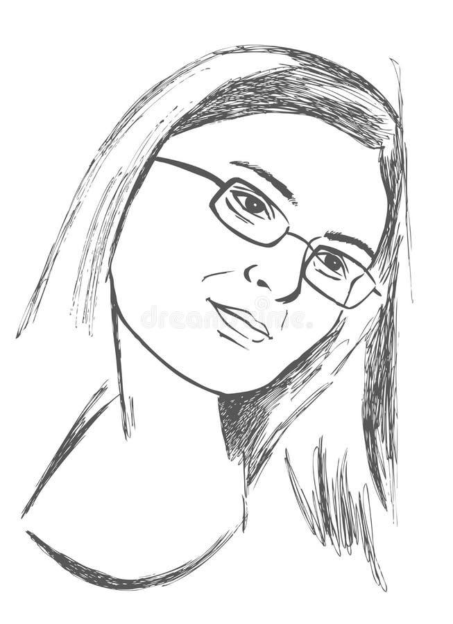 Kobieta w szkłach ilustracji