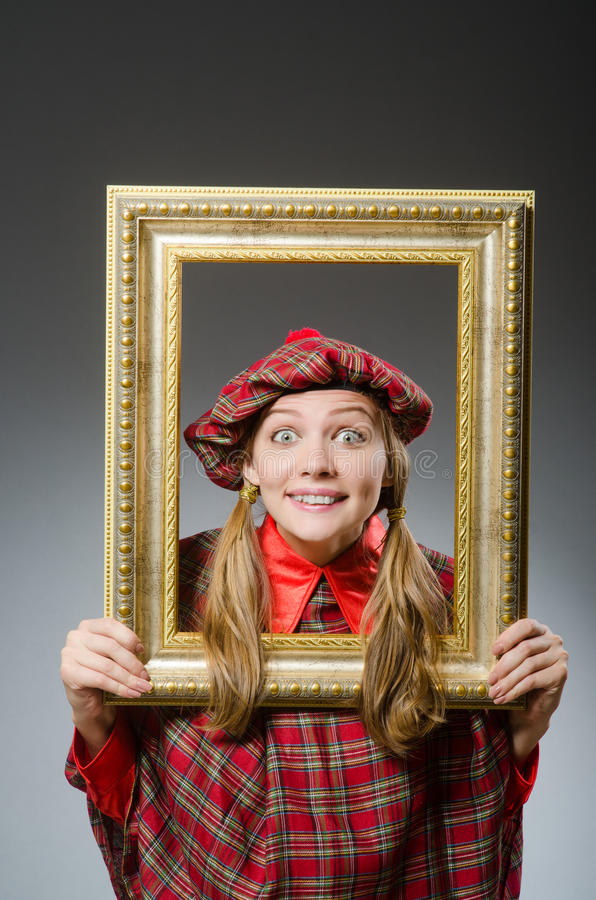 Kobieta w szkockiej odzieży zdjęcie stock