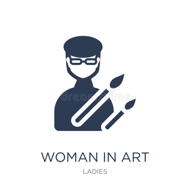 Kobieta W sztuki ikonie Modna płaska wektorowa kobieta W sztuki ikonie na bielu ilustracji