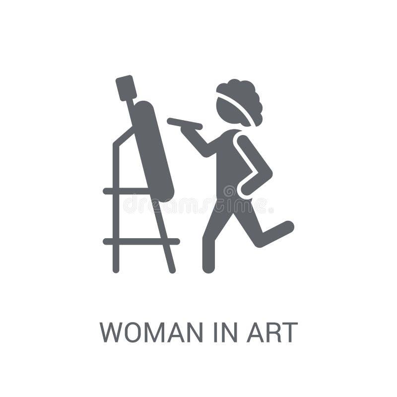 Kobieta W sztuki ikonie Modna kobieta W sztuka logo pojęciu na białym bac ilustracji