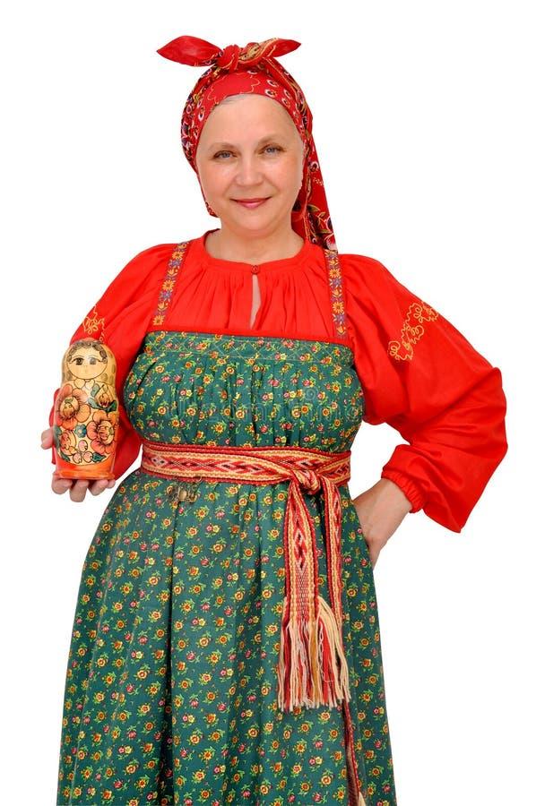 Kobieta w tradycyjnym płótnie obraz stock