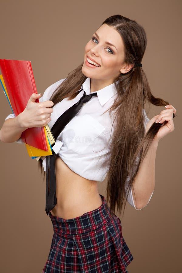Kobieta w uczennica kostiumu zdjęcia stock