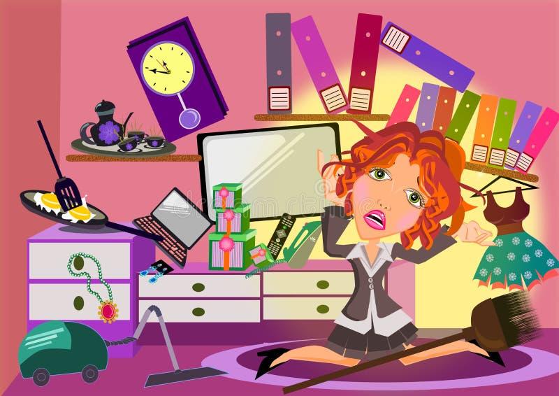 Kobieta w upaćkanym pokoju ilustracja wektor