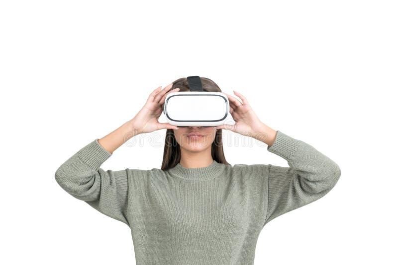 Kobieta w VR szkłach, odizolowywających zdjęcia stock